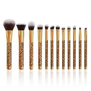 Docolor Makeup Brushes Leopard 12 Pieces Professional Makeup Brush Set Premium Synthetic Brushes Set Kabuki Foundation Blending Brush Face Powder Blush Concealers Eye Shadows Make Up Brushes Kit