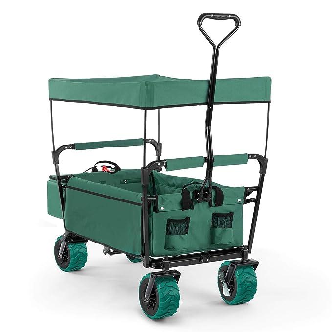 Waldbeck The Green Supreme • Bollerwagen • Handwagen • witterungsbeständig • 68kg Belastbarkeit • Kühltasche • 8 Seitentasche
