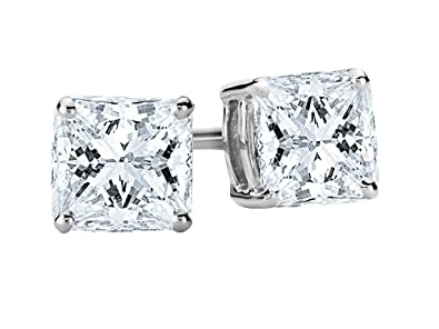 d52297806 Amazon.com: 1/2 0.5 Carat Total Weight White Certified Princess Diamond  Solitaire Stud Earrings Pair set in Platinum 4 Prong Screw Back (H-I Color  SI1-SI2 ...