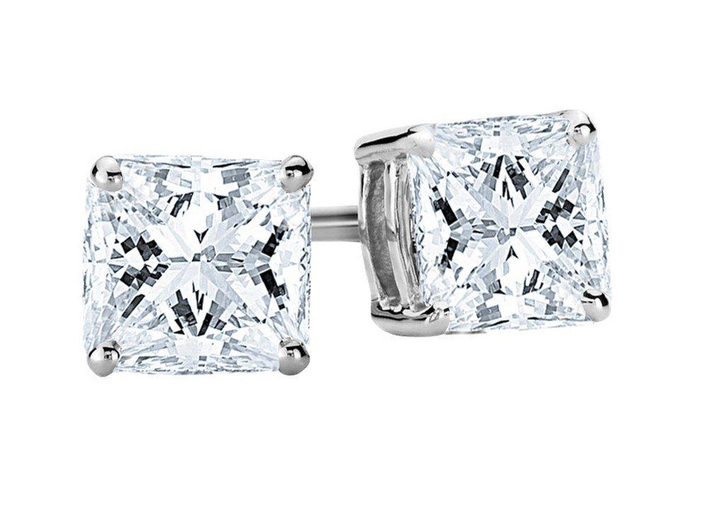 3/4 Carat Princess Cut Diamond Stud Earrings Earth-mined 14K White Gold (G-H VS1-VS2)