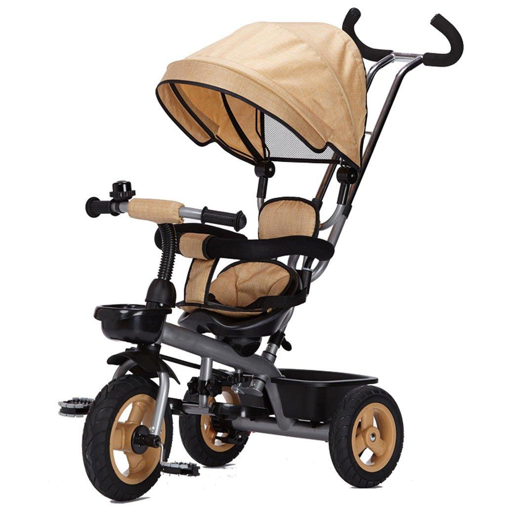 子供用自転車、赤ちゃんの赤ちゃんキャリッジ三輪車自転車のトロリー B07CJW8SWHイエロー いえろ゜