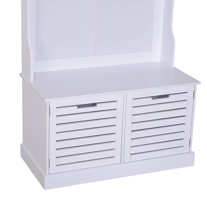 HOMCOM Banco con Perchero Mueble Recibidor Colgador Pasillo con Asiento Armario de Almacenamiento 4 Ganchos 80x40x180cm Blanco Carga 100kg