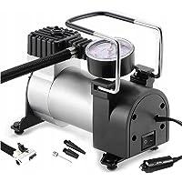 Retoo Sprężarka powietrza 12 V z 3 adapterami zaworów, kompresor powietrza do roweru, samochodu, piłki, motocykla…