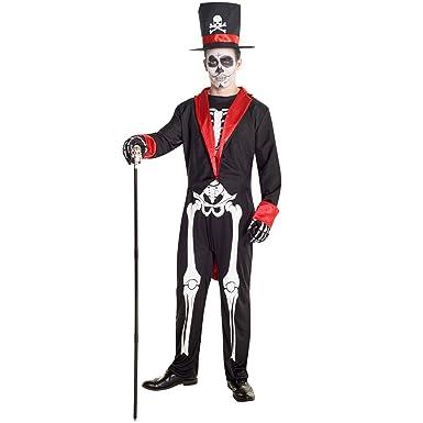 Mens Sugar Skull Day of the Dead Skeleton Costume Costume  sc 1 st  Amazon.com & Amazon.com: Mens Sugar Skull Day of the Dead Skeleton Costume ...