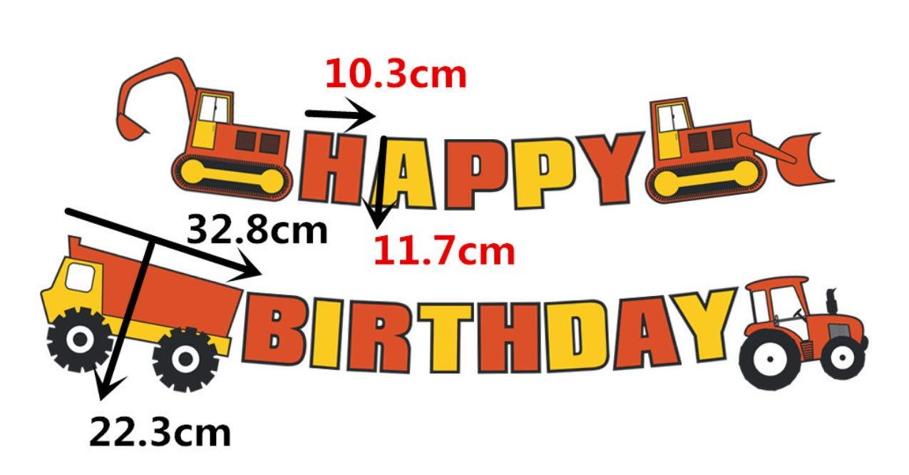 Excavator Birthday Party Decoration Bulldozer Dump Truck Tractor Birthday Party Supplies Tractor Themed Birthday Party Decorations E/&L Construction Happy Birthday Banner for Baby Shower Party