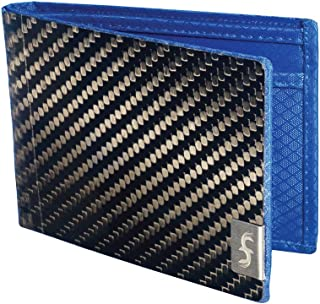 product image for Common Fibers - The MAX 3.0 - Real Carbon Fiber RFID Blocking Bifold Mens Wallet With ID (Twill, Blue)