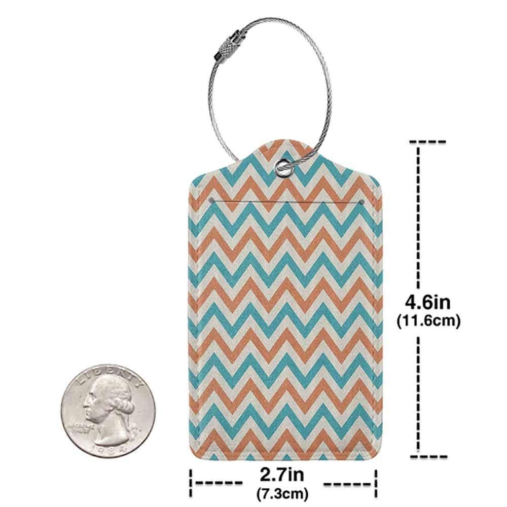 Printed luggage tag Geometric Decor Collection Chevron Pattern Anniversary Celebration Herringbone Style Historic Timeless Artwork Protect personal privacy Coral Blue White W2.7 x L4.6