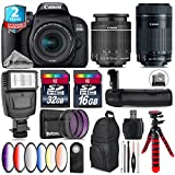 Canon EOS Rebel 800D/T7i Camera + 18-55mm IS STM Lens + Canon 55-250mm IS STM Lens + Battery Grip + 6PC Graduated Color Filter Set + 2yr Extended Warranty + 32GB Class 10 - International Version