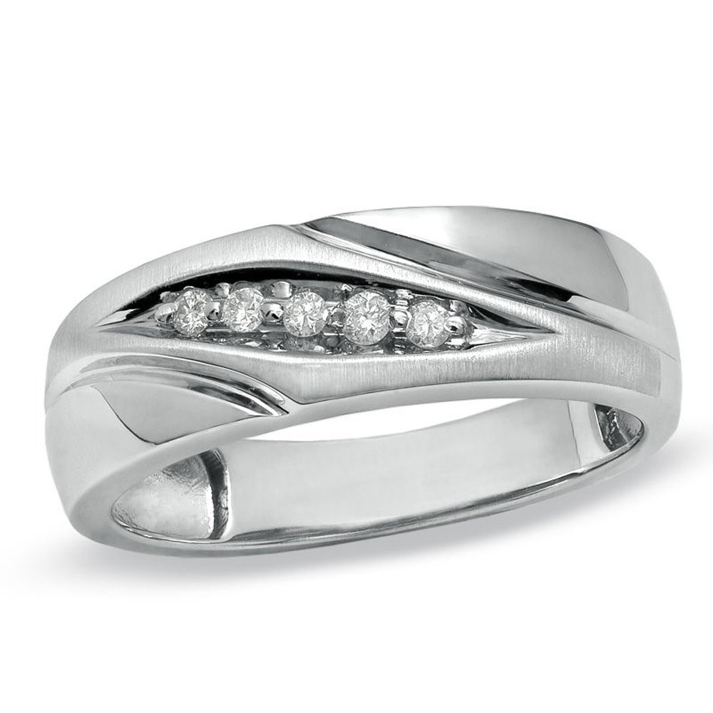 Silvernshine Jewels 1/10 Cts Round Sim. Diamond Slant Wedding Band Ring With 14K White Gold Plated