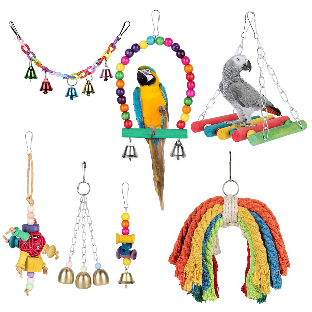 YOUTHINK Birds Swing Toys, 7 Pcs Colorful Parrots Chewing Hanging Hammock Swing Perches Pet Bird Hanging Bell Tearing Toys for Parakeets Cockatiels, Conures, Macaws, Parrots, Love Birds, Finches by YOUTHINK