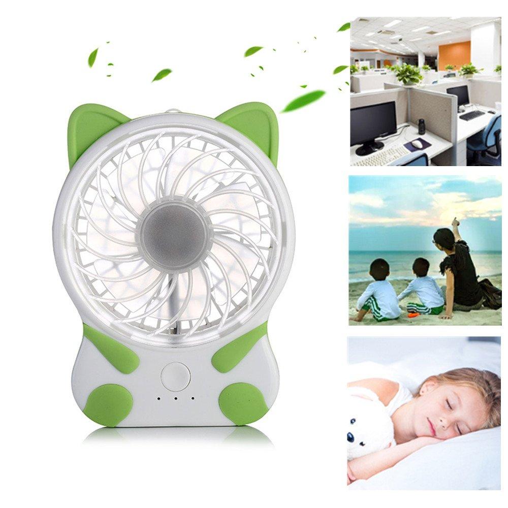 elecfan Lovely Cat Shape Portable Mini Table Fan, USB Rechargeable Fan, Office Portable Desk Fan, Natural Wind, 3 Speed Adjustable Fan for Home Office Travel Outdoor - Green