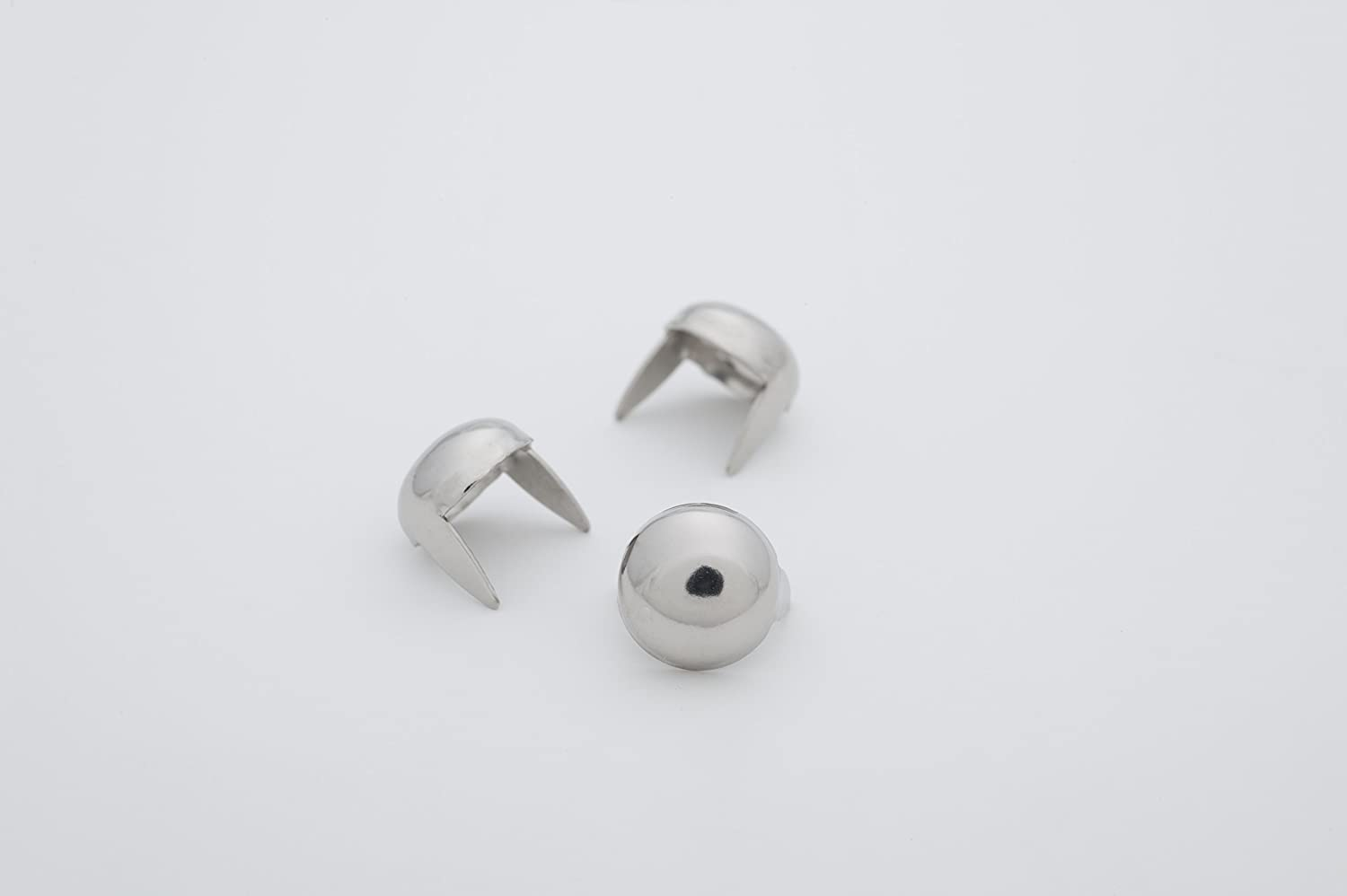 Medium Silver Dome Metal Studs - Size 10 - Ideally Used For Denim and Leather Work - Classic Two-Prong Studs – Pack of 100 studs and spikes StudsAndSpikes