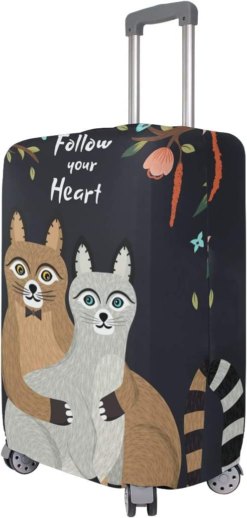 FOLPPLY Cute Cat Follow Your Heart Luggage Cover Baggage Suitcase Travel Protector Fit for 18-32 Inch