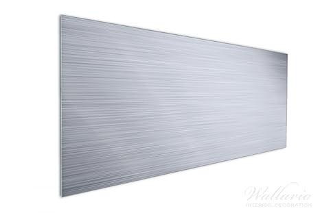 Wallario Küchen Rückwand | Glas Mit Motiv Aluminium Optik Metall Optik  Streifen In Premium Qualität: Brillante Farben, Ohne Aufhängung | Geeignet  Zum ...