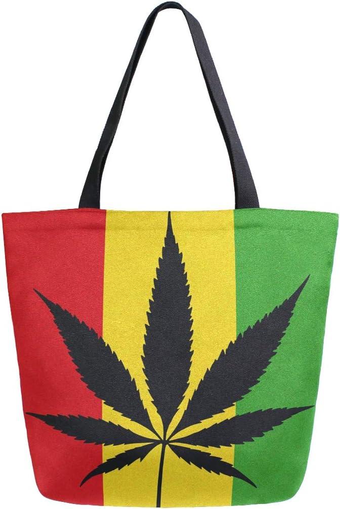 Hunihuni Bolsa de lona reutilizable grande con diseño de hojas de cannabis