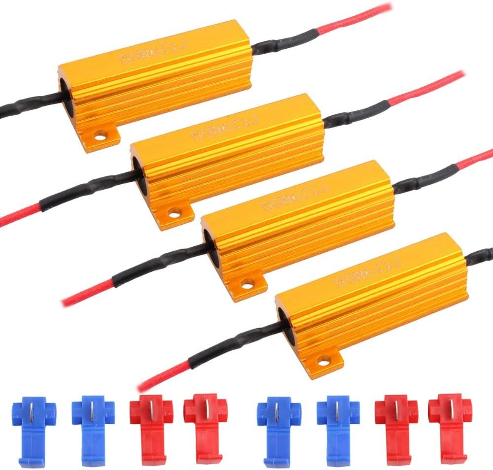 JAVR - Pack de 4 – 6 ohm 50 W resistencia de carga Canbus decodificadores anti-intermitente para bombilla LED: Amazon.es: Coche y moto