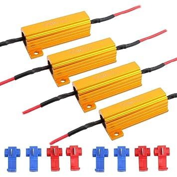 JAVR - Pack de 4 - 6 ohm 50 W resistencia de carga Canbus decodificadores anti-intermitente para bombilla LED: Amazon.es: Coche y moto
