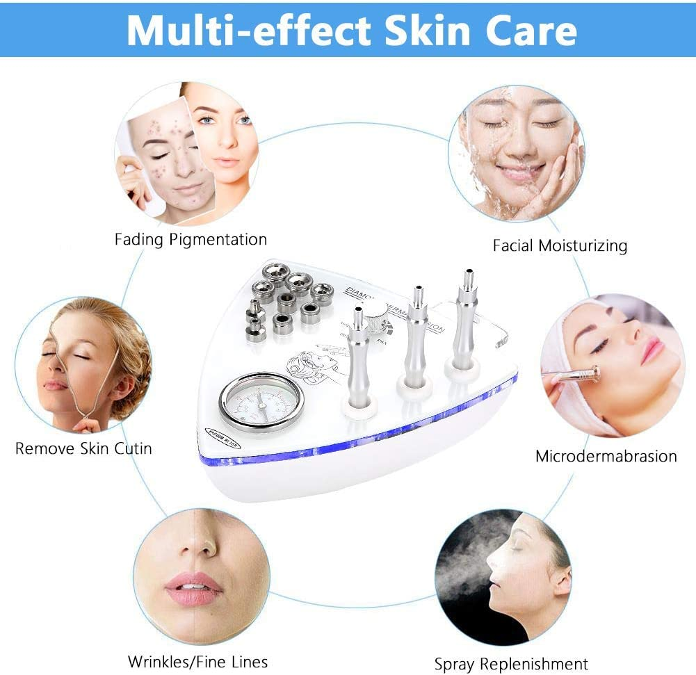 ZNXY 3 in 1 Diamond Dermabrasion Microdermabrasion Tools Skin Care Health Beauty Vacuum Spray Skin Care Machine for Anti-Aging, Exfoliation, Blackhead and Acne Removing