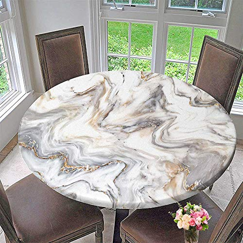 (PINAFORE HOME Picnic Circle Table Cloths Marble Ink Texture backgroundcan Used for Wallpaper for Family Dinners or Gatherings 31.5
