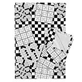 Puzzle Crossword Sudoku Black and White Words Game Fun Tea Towels The Daily Puzzles by Robyriker Set of 2 Linen Cotton Tea Towels