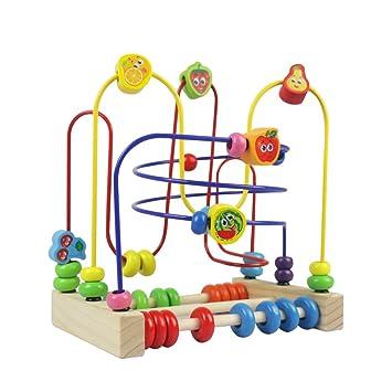 Circuit de Motricite Enfant Boulier Montessori Bois Jeux de Labyrinthe Fruit  PerlesJouet Bebe pour Enfant Fille dbe2c19ad2ae