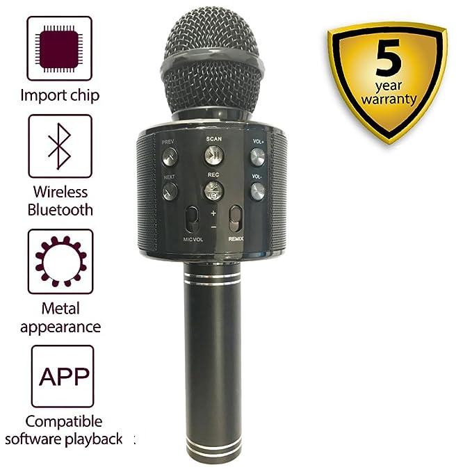 HAISHULIN Micrófono inalámbrico Bluetooth, Micrófono de karaoke de mano Altavoz, Reproductor de KTV portátil Inicio Sistema de máquina de música de KTV para ...