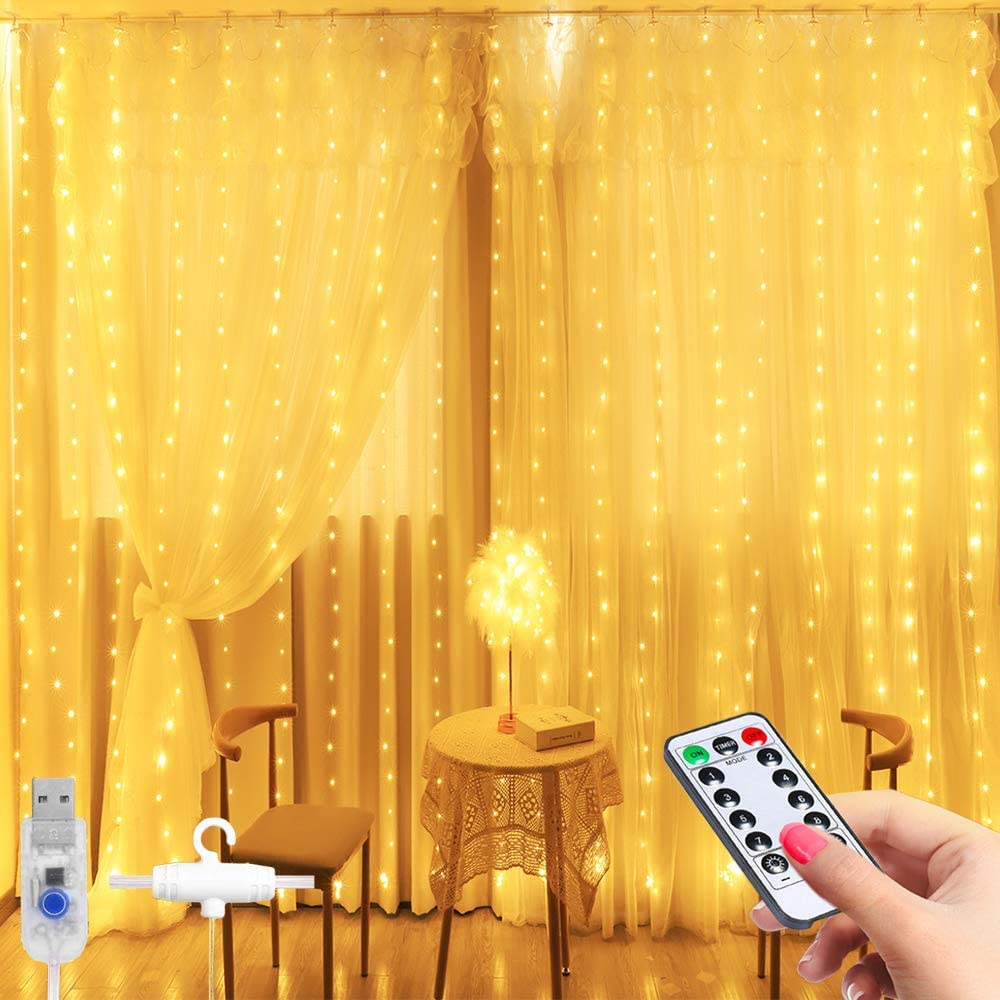 LED Window Curtain String Light -3MX2.8M 280 LED 8 Modes Fairy Lights with Hook Remote Control USB Powered Waterproof Copper Wire Decor Lights for Christmas Bedroom Party Wedding (Warm White)