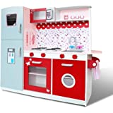Wooden Kitchen Pretend Play Set Toy Kids Toddlers Cooking Home Children Cookware