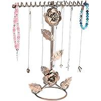 Smyckenställ, rosenblommans smyckeshållare, extra höga halsbandshållare för ringar, örhängen, armband, klockor och…