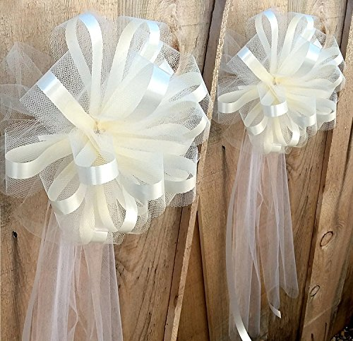 White Tulle Wedding Ceremony Pull Bows for Church Pews - 9
