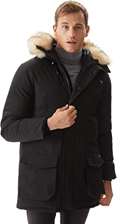 YUELANDE Men Windbreaker Zipper Thickened with Faux-Fur Trim Hood Down Jacket
