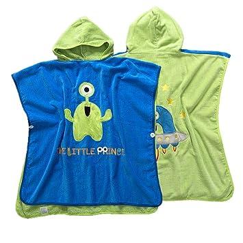 Poncho de toalla de baño con capucha para niños Niños Algodón orgánico Albornoz Niños Bebé Dibujos ...