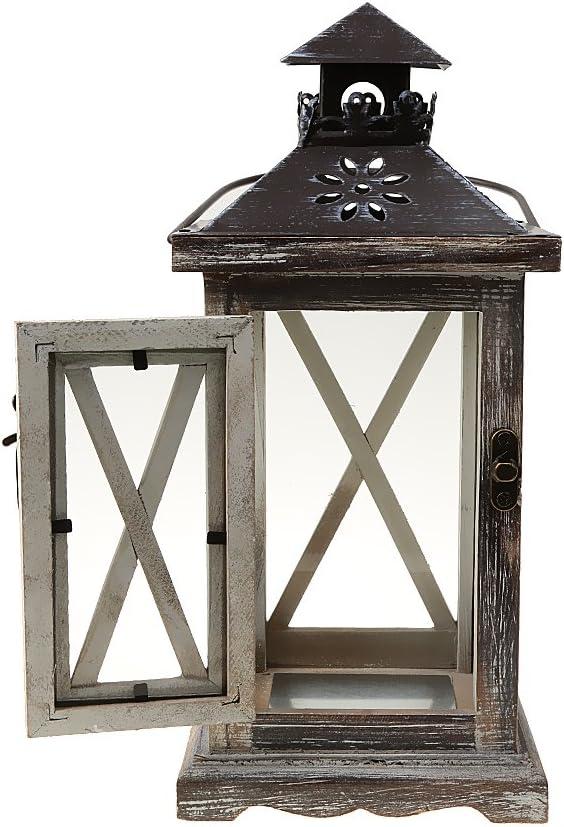 12.5x12.5x28cm Gazechimp Lanterne Suspendu en Bois Vieilli Bougeoir Porte-Bougie D/écoraion Vintage # 2
