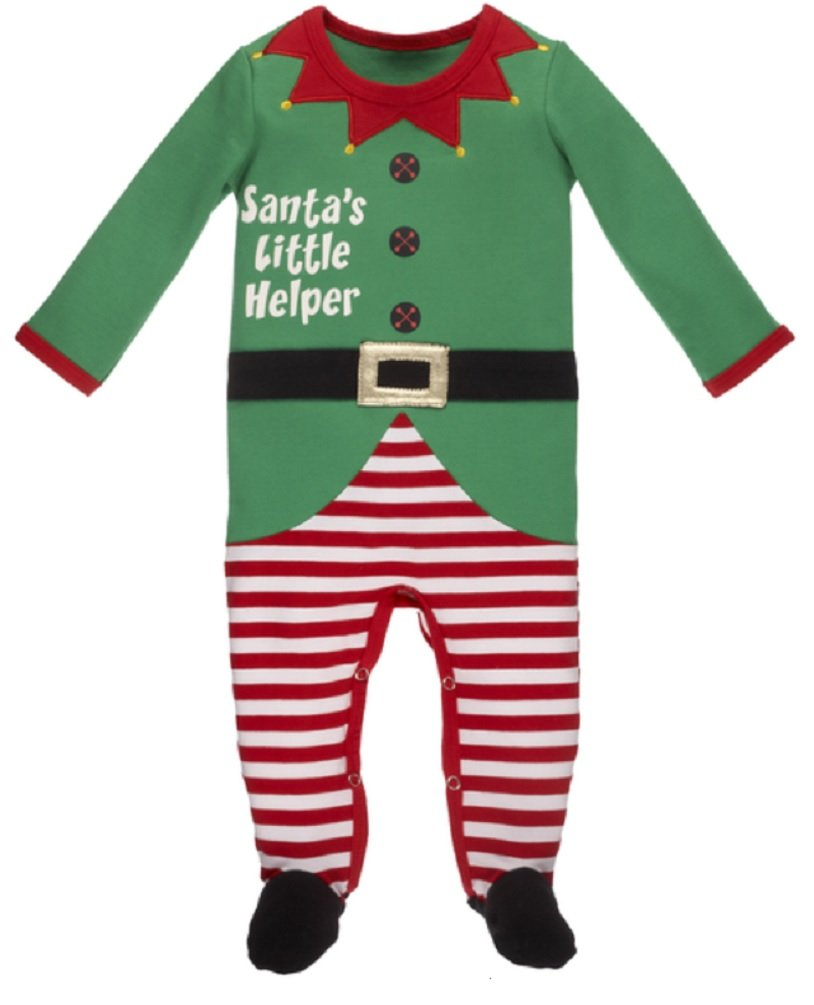Ganz Baby Santas Little Helper Footed Elf Romper 3-9m