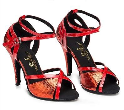 Pour Latine Danse Cuir Hauts Talons Hccy En Chaussures Rouge