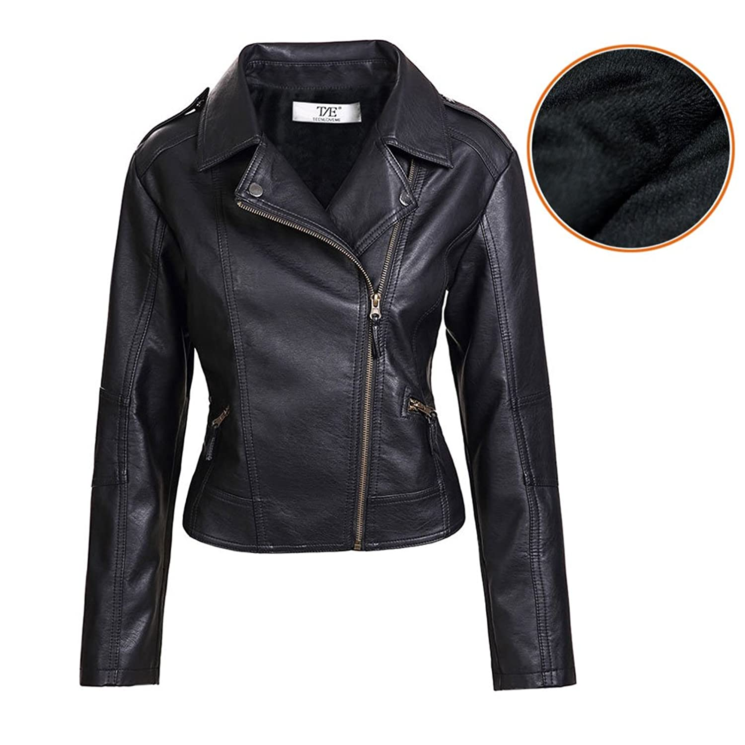 Women's Slim Tailoring Faux Leather PU Short Jacket Coat US Size ...