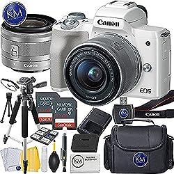 Canon Eos M50 Mirrorless Camera W15-45mm (White) + 2 X 32gb + Deluxe Photo Bundle