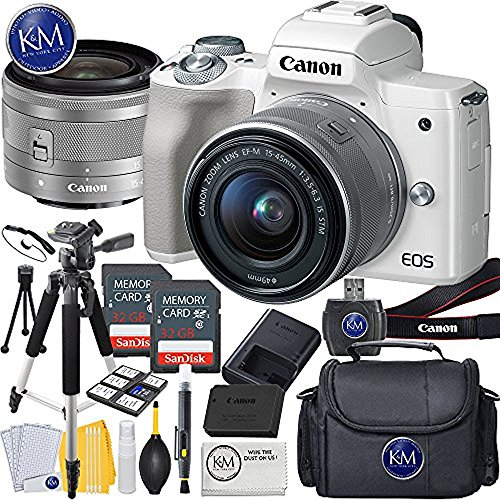 Canon EOS M50 Mirrorless Camera w/15-45mm (White) + 2 x 32GB + Deluxe Photo Bundle
