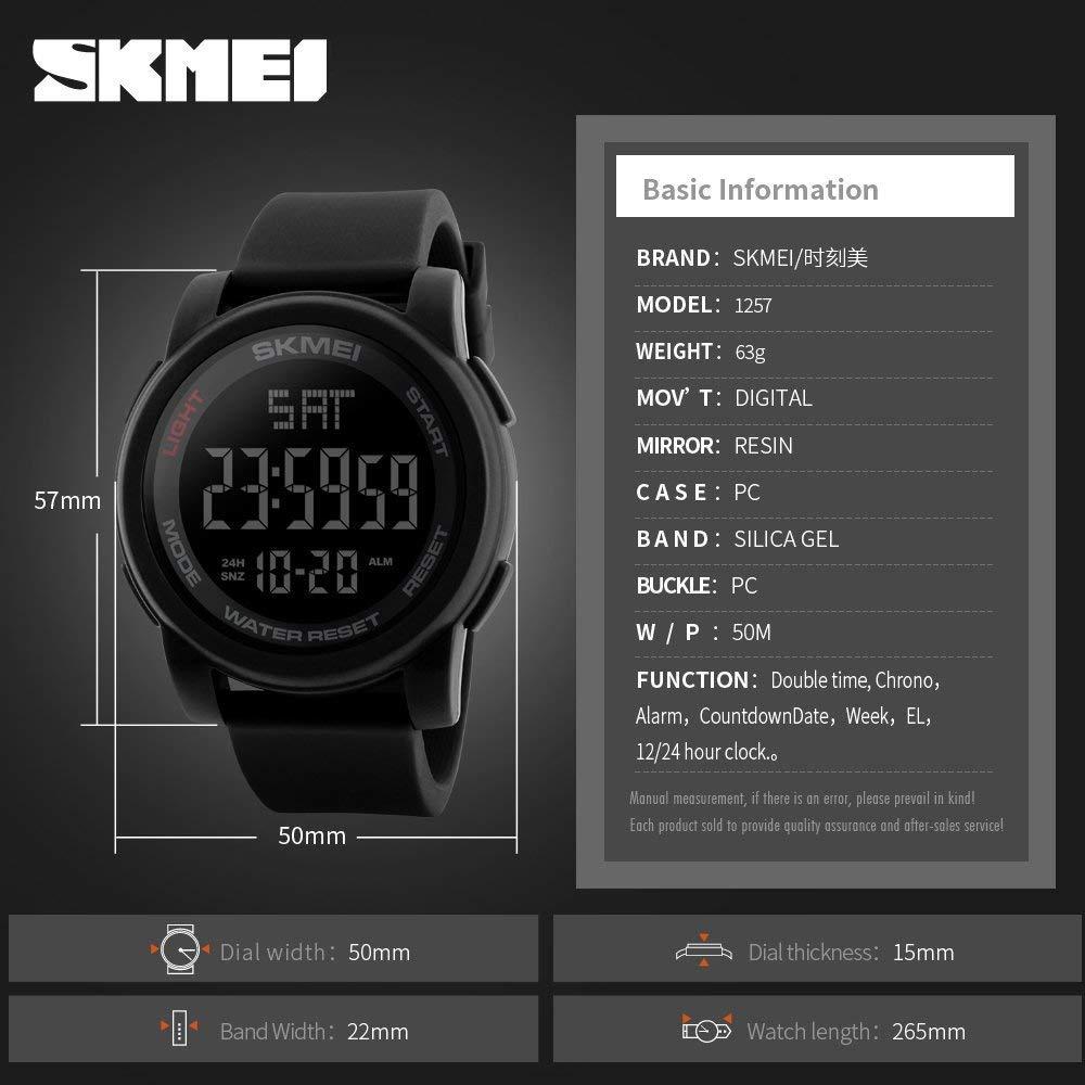 Buy Skmei S Shock Countdown Alarm Stop Watch 50m Waterproof Digital Sport Water Resistant Dg1025 Black Dial Mens Sports 1257 Online At Low Prices In India