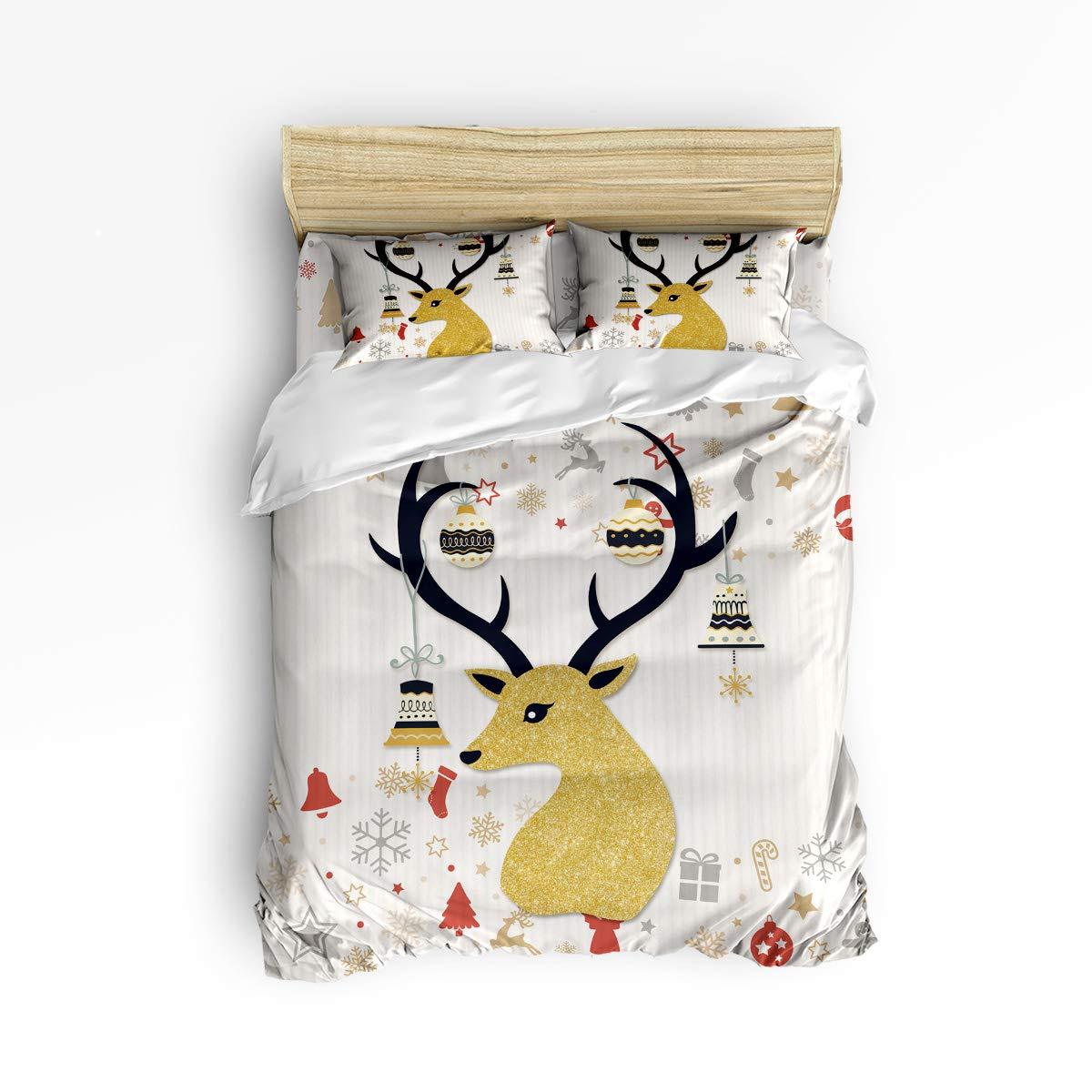 Merry Christmas テーマ 掛け布団カバー寝具4点セット 枕カバー2枚 ウルトラソフト 低刺激性マイクロファイバー (掛け布団なし) ツイン 20181116LTTTMSJTBCSSWTQ00582SJTATMY B07KP4BPN3 Reindeer20tmy6262 ツイン