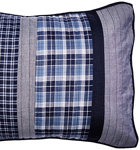 Nautica Adleson Cotton Pieced Quilted Sham, Standard, Blue/Grey