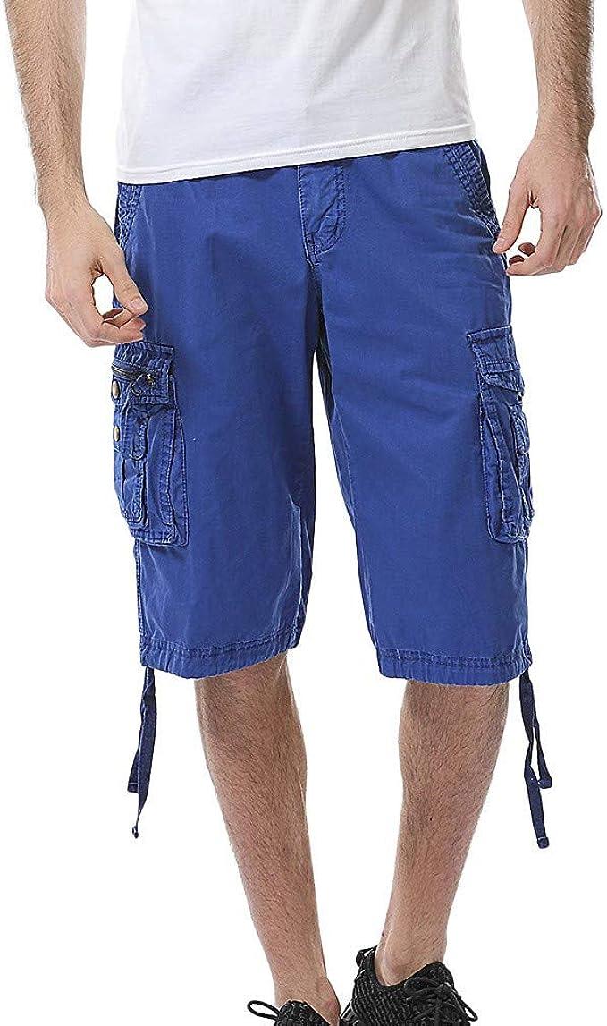 JURTEE Pantalones Cortos Hombre Verano Cargo Shorts Bermuda Deporte Short Pantalón Sweatpant Gym Leisure Elástico Regular Pantalones Algodón Vendaje Multi-Bolsillo: Amazon.es: Ropa y accesorios