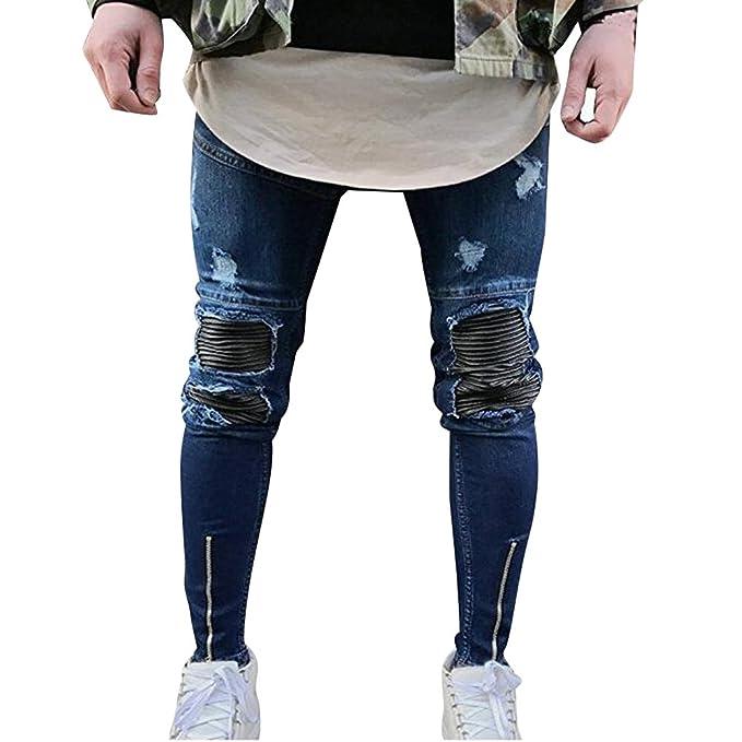 Pantalones Vaqueros para Hombre Slim Fit Denim Pantalones ...