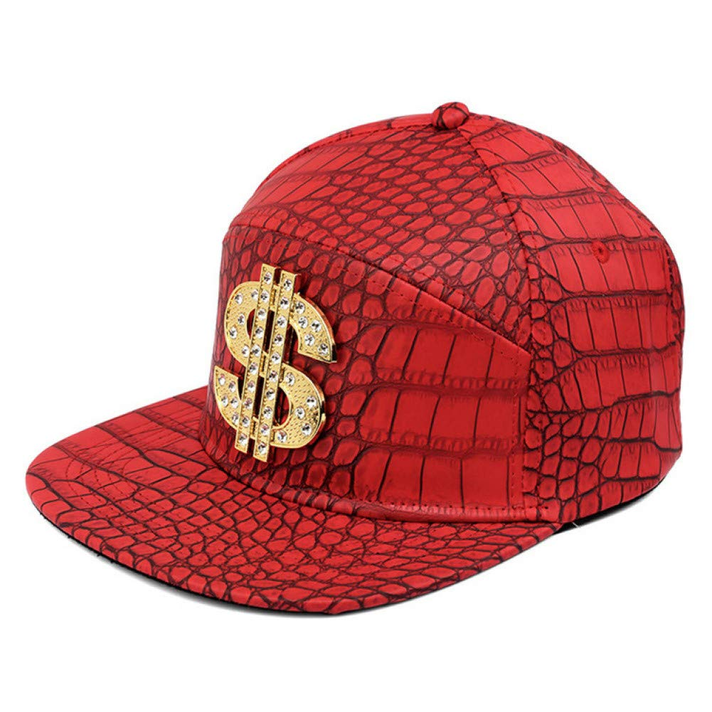 WYKDA M/änner Frauen Goldene Pu Leder Dollarzeichen G/ürtelschnalle Baseball Caps Gorras $ Snapback Strass Krokodil Hip Hop H/üte