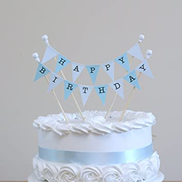 Amazing Buntings Happy Birthday Blue Cake Bunting Topper 4 Sticks With Beads And