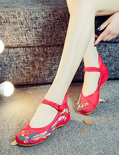 Fanwer Mary Jane Canvas Phoenix Embroideried Women Soft Sole Chinese Shoes Casual Flats Red CwyEj