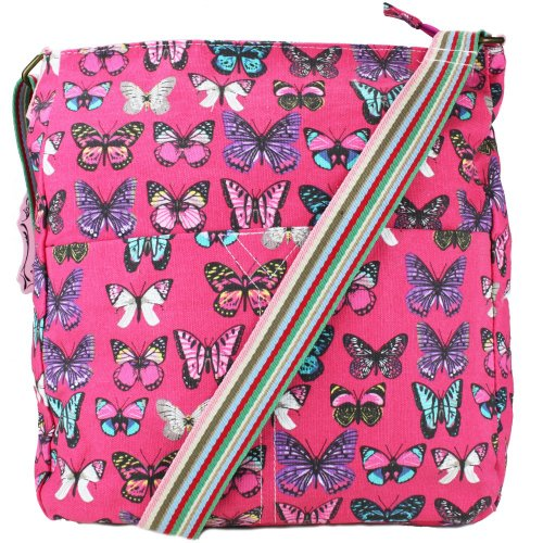 Bag Butterfly Miss Rucksack Light Pink Print Shoulder Backpack School Cute Canvas Girls Lulu Retro vpqvwzr