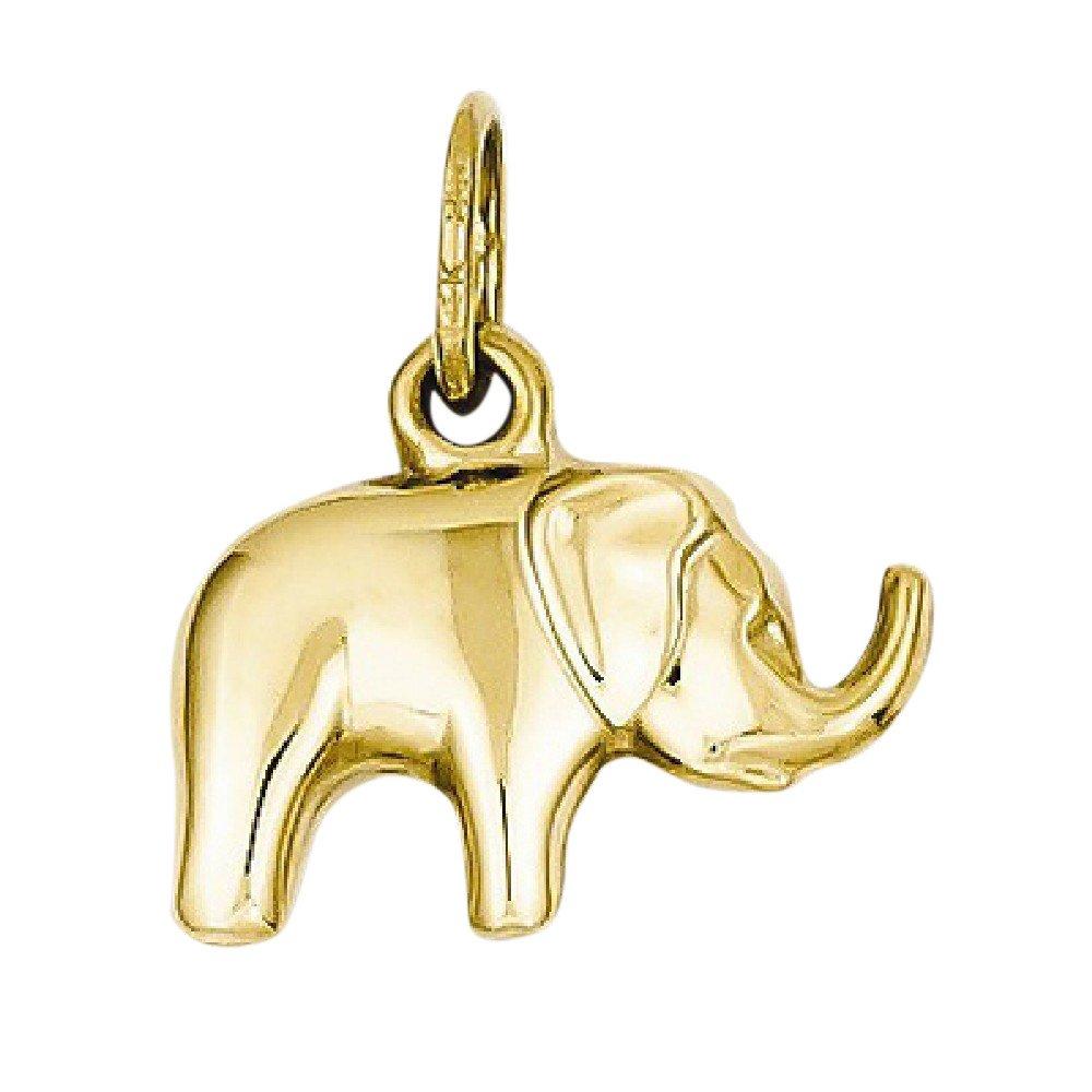 Elephant Charm Pendant in 14K Gold