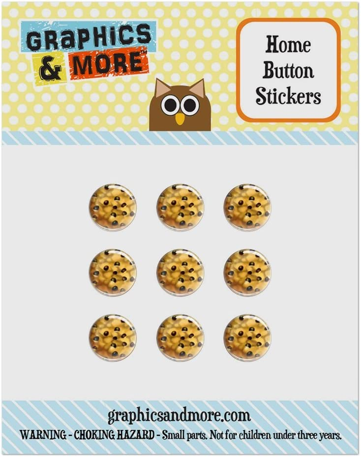 Set of 9 Puffy Bubble Home Button Stickers Fit Apple iPod Touch, iPad Air Mini, iPhone 4/4s 5/5c/5s 6/6s Plus - Food Drink Bacon Coffee - Chocolate Chip Cookie