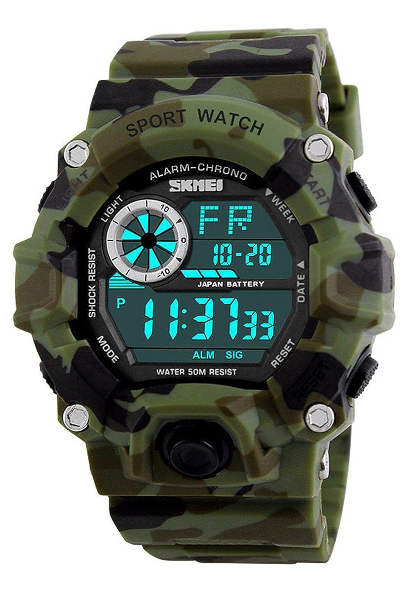 Fanmis Men s Outdoor Sports Fan Watch Multifunction Electronic Watch Camo Green